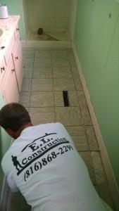 Installing Floor Tile - Remodeling Bathroom Kansas City Northland